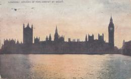 LONDON, Houses Of Parlament By Night, Gel.1920, Transportspuren - Sonstige