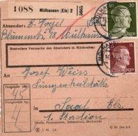 1944 - Cachets MULHAUSEN (Els) Sur Timbres Hitler Sur Reçu ?? - Germany
