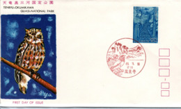 JAPAN,   FDC,   Owls   /    JAPON,    Lettre De Première,   Hiboux, Chouettes   1973 - Owls