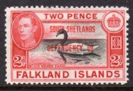 FALKLAND ISLANDS DEPENDENCIES SOUTH SHETLANDS - 1944 BLACK-NECKED SWAN BIRD STAMP FINE MOUNTED MINT MM * SG D3 - Falkland Islands