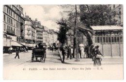 CPA 75 PARIS 4e Station Métro Saint Paul Style Guimard Rue Saint Antoine Place Des Juifs Métropolitain Ed. G. B. - Metro, Stations