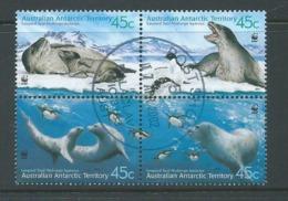 Australian Antarctic Territory 2001 Leopard Seals WWF Block Of 4 FU Australian Cds - Used Stamps