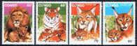WILD CATS / CONGO / 4 VFU STAMPS  . - Big Cats (cats Of Prey)