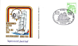 RFA Entier-P Obl Yv: 877 Mi:1038A1 Wasserschloss Inzlingen (TB Cachet à Date) Kiel 16-7-1980 Gorch Fock - Postales - Usados