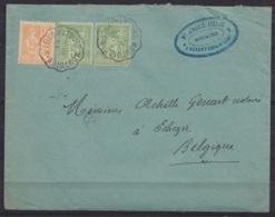"""L. Affr. 2x 5c Vert Sage + 15c Orange Mouchon Càd Ambulant """"MONTOIRE-SUR-LE-LOIR A TOURS/ 13 JUIL 1901"""" Pour EGHEZEE - 1898-1900 Sage (Type III)"""