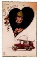 Vive Sainte Barbe - Montage Photo, Pompier Casqué Dans Un Coeur, Camion-pompe & Lance Incendie, échelle, Extincteur - Firemen