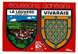 """Carte Deux écussons Adhésifs """"La Louvesc & Vivarais"""" Circulé Sans Date, Sous Enveloppe - La Louvesc"""