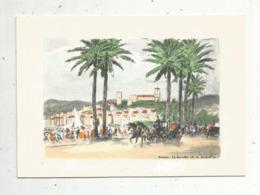 Cp, Carte De Voeux ,2 Volets ,  Illustrateur , Signée , 06, CANNES , La Croisette Et Le Suquet, écrite - Künstlerkarten