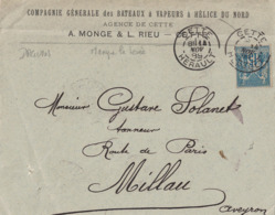 HERAULT - CETTE - DAGUIN - SAGE - MANQUE LA LEVEE SUR 1 CACHET - ENTETE COMPAGNIE GENERALE DES BATEAUX A VAPEUR - Marcophilie (Lettres)