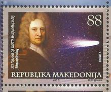 MK 2017-06 ASTRONOMY EDMOUND HALLEY, MACEDONIA MAKEDONIJA, 1 X 1v, MNH - Macédoine