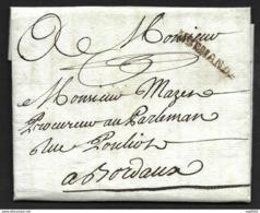 Lot Et Garonne-Lettre Avec Marque De Marmande-Pour Bordeaux-1783 - Marcophilie (Lettres)