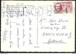 Carte Avec Oblitération Lyon Gare Sur N°1097-Pour La Hollande - Postmark Collection (Covers)
