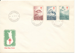 Finland FDC 4-9-1961 The Fight Against TUBERCULOSIS Complete Set Of 3 With Cachet - Finland