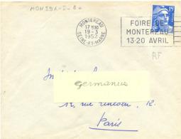 MONTEREAU SEINE-ET-MARNE OMec SECAP FLAMME DROITE FOIRE DE / MONTEREAU / 13-20 AVRIL - Du 19-3-1952 - Marcofilie (Brieven)
