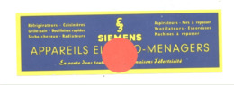 """Marque-pages Publicitaire -"""" SIEMENS """" Radio , TV, Electro Ménagers,... (b260/3) - Marque-Pages"""
