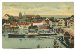 """Stein Am Rhein - Vor Der Brücke - Bridge, Paddle Steamer """"Neptun"""" - 1908 Used Switzerland Postcard - SH Schaffhausen"""