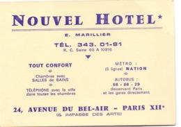 Visitekaartje - Carte Visite - Pub Reclame - Nouvel Hotel - E. Marillier - Paris XII - Cartoncini Da Visita