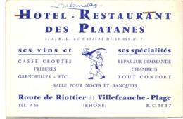 Visitekaartje - Carte Visite - Pub Reclame - Hotel Restaurant Des Platanes - Villefrance Plage - Cartes De Visite