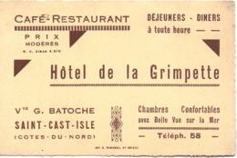 Visitekaartje - Carte Visite - Pub Reclame - Café Restaurant Hotel De La Grimpette - Vve Batoche - Saint Cast Isle - Cartoncini Da Visita