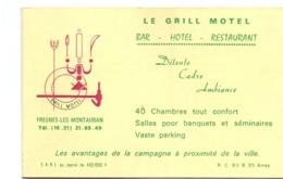 Visitekaartje - Carte Visite - Pub Reclame - Le Grill Motel - Bar Restaurant - Fresnes Les Montauban - Cartes De Visite