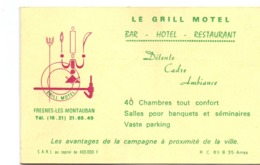 Visitekaartje - Carte Visite - Pub Reclame - Le Grill Motel - Bar Restaurant - Fresnes Les Montauban - Cartoncini Da Visita