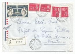 BEQUET1FRX4 + PA5FR LETTRE REC AVION ST PIERRE 23.3.1977 REUNION - 1971-76 Marianne Of Béquet