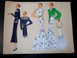 HAUTE COUTURE 1930 GRAND DESSIN ART DECO ROBE IMPRIME RODIER TISSUS CROQUIS MODE DRAWING FASHION SKETCHES FABRIC MODA - Dessins