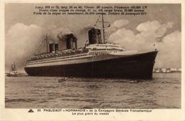 CPA Paquebot Normandie - Cie Gle Transatlantique SHIPS (911345) - Steamers