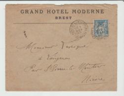 "FINISTERE : "" GRAND HÔTEL MODERNE à Brest CàD Gare De Landerneau / Sage De 1899 TB - Postmark Collection (Covers)"