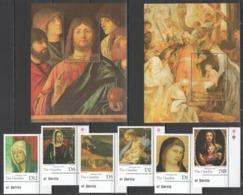 W887 1995 GAMBIA ART PAINTINGS CHRISTMAS 95 #2207-14 MICHEL 32 EURO SET+2BL MNH - Sonstige