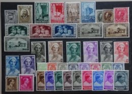 BELGIE  1934-37  Samenstelling   Nr. 394 / 385 / 386 - 89 / 401 403  ... Zie Verder      Scharnier *      CW  60,00 - Belgique