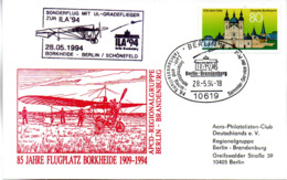 "(BT-2) BRD Sonder-Karte ""85 Jahre Flugplatz Borkheide 1909-1994"" EF BRD Mi 1722 SSt 28.5.1994 BERLIN 12 - Storia Postale"