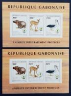 GABON IMPERF + DELUXE PROOF - ND + EPREUVE - FAUNA BIRDS PELICAN HIPPOPOTAMME FAUNE PROTEGEE 1998 YT BLOC 85 MNH - Gabon