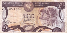 "CYPRUS (GREECE) 1 POUND 1993 F P-53c  ""free Shipping Via Regular Air Mail (buyer Risk)"" - Cyprus"