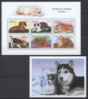 W921 ANTIGUA & BARBUDA FAUNA DOGS PUPPIES #2612-17 MICHEL 16.5 EURO 1KB+1BL MNH - Honden