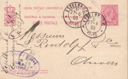 LUXEMBOURG 1903       ENTIER POSTAL/GANZSACHE/POSTAL STATIONERY  CARTE DE ETTELBRUCK - Stamped Stationery