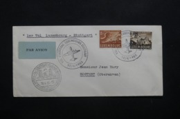 LUXEMBOURG - Enveloppe 1er Vol Luxembourg / Stuttgart En 1955 , Affranchissement Et Cachets Plaisants - L 42505 - Lussemburgo