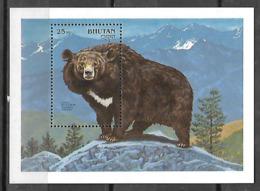 BHUTAN- 1990- ENDANGERED WILDLIFE SERIES- HIMALAYAN BLACK BEAR- S/S- MNH - Bhoutan