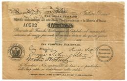 25 FRANCHI PRESTITO NAZIONALE ITALIANO MAZZINI 1850 BB+ - Italia