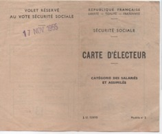 Carte D'Electeur / Sécurité Sociale/ Catégorie Des Salariés Et Assimilés/Parfums Marcel ROCHAS/ASNIERES/1955      ELEC34 - Old Paper