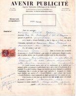 Contrat Avenir Publicité Pour Panneau à Saint Nazaire, Timbre Fiscal De 215 Francs, 1957 - Fiscaux
