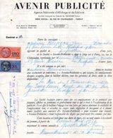 Contrat Avenir Publicité Pour Panneau à Rochefort Sur Mer, 2 Timbres Fiscaux De 180 Francs Orange Et 35 Francs Bleu 1957 - Fiscaux