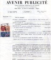 Contrat Avenir Publicité Pour Panneau à Rochefort Sur Mer, 2 Timbres Fiscaux De 240 Francs Orange Et 10 Francs Bleu 1960 - Fiscaux