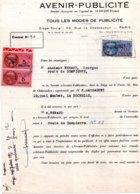 Contrat Avenir Publicité Pour Panneau à La Rochelle, 2 Timbres Fiscaux De 5 Francs Rose Et 70 Francs Bleu 1951 - Fiscaux