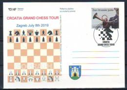Croatia 2019 SPORT CROATIA GRAND CHESS TOUR Postcard Overprint Postmark 06.07. 10000 Zagreb - Croatie