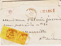 Algérie, De BLIDA En 1884; Chargement 50c Groupe En Paire     Pour Marseille TB - Poststempel (Briefe)