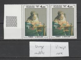 "FRANCE / 1982 / Y&T N° 2231 ** : ""La Dentelière"" (Vermeer) - Variété Visage Verdâtre/visage Rose Se Tenant - Variedades Y Curiosidades"