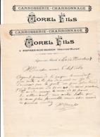 1908/09 - ASPRES-sur-BUECH (05) - CARROSSERIE-CHARRRONNAGE - MOREL Fils - Documents Historiques