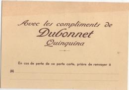 Calendrier Poche/Avec Les Compliments De DUBONNET Quinquina/identifie Un Porte Carte Publicitaire /1956        CAL465 - Non Classificati