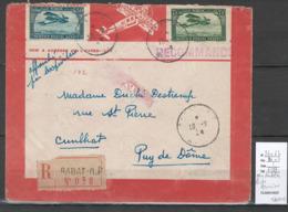 Maroc - Lettre Recommandée De Rabat - Poste Aérienne Avec Yvert 2b-6b- - NON DENTELES - Morocco (1891-1956)